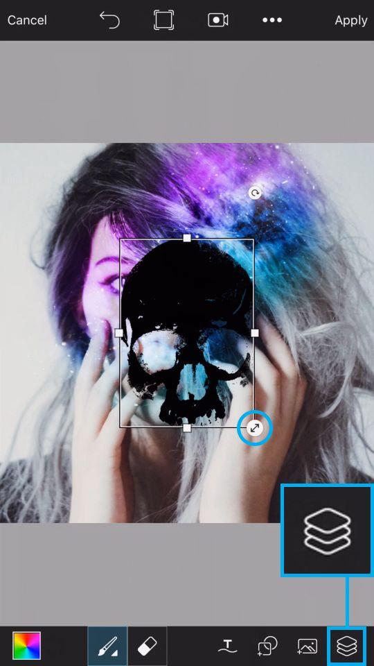 PicsArt Tutorial - Galaxy Skull 12