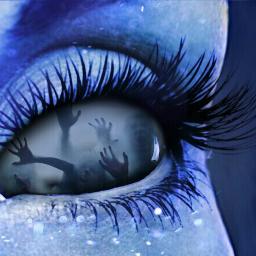blue hands eye eyelashes sparks
